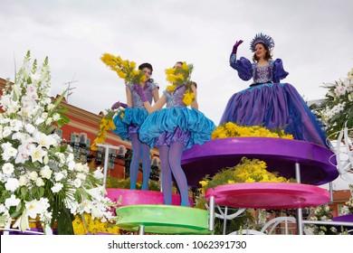 Nice, France - February 24, 2018: Carnival Parades Nice France