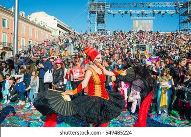 Nice, France - February 27, 2016: Participants in the carnival parade in Nice. Carnaval de Nice
