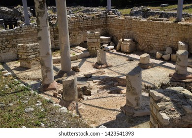 Nice, Nice / France - July 16 2018: Ancient Roman Baths ruins Cimiez archaeological site museum travel summer holiday French Riviera