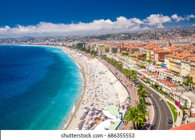 NICE, FRANCE - July 2017 - Beach promenade in old city center of Nice, French riviera, France, Europe.