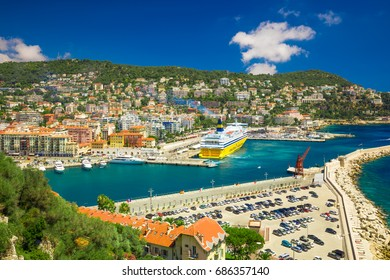 NICE, FRANCE - July 2017 - Corsica ferry in old city center of Nice, French riviera, France, Europe.