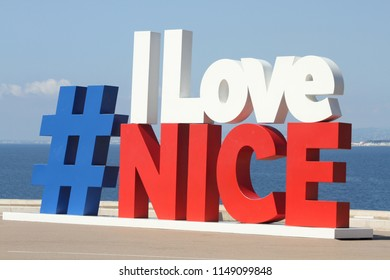NICE, FRANCE - July, 2018: Modern urban art on promenade of Nice made as hashtag #ILoveNice is popular photo and selfie spot for tourists.