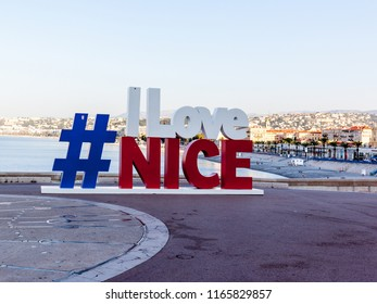 Nice, France, July 30, 2018: I love Nice sign at Seafront of the city, Nice is the fifth most populous city in France.