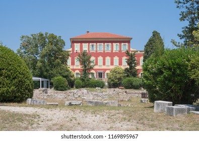 Nice, France - July 4, 2018: Musee Matisse in Villa des Arenes, 17th Century Genoese house, Nice, Cimiez District