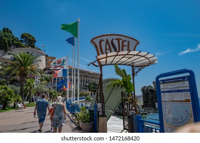 "Nice, France, July 4, 2019.Nice, France, July 4, 2019, the restaurant ""Castel"" on the ""Promenade des Anglais""."
