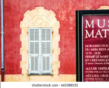 NICE, FRANCE - JULY 6, 2008: wall of Musee Matisse (Matisse Museum) in Nice city. The museum was opened in 1963, it is located in the Villa des Arenes