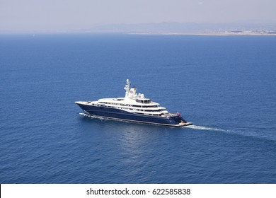 NICE, FRANCE, JULY 6th, 2016. Rarely seen outside Greece: motor Yacht Al Mirqab setting for open sea. Considered one of the largest and most beautiful yachts on the water. Editorial use only.