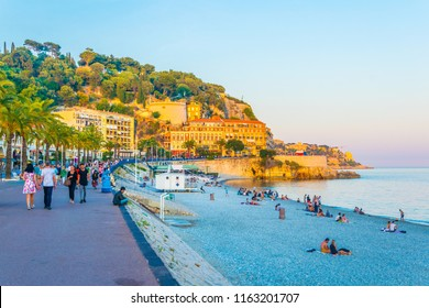 NICE, FRANCE, JUNE 11, 2017: People are strolling on promenade des anglais in Nice, France