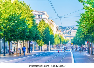 NICE, FRANCE, JUNE 11, 2017: View of traffic on Avenue Jean Medecin in the center of Nice, France