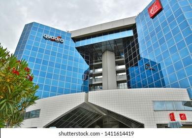 Nice, France - June 15, 2014: Porte de l'Arenas, International Business Center, contemporary architecture.