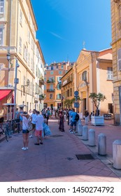 Nice, France - June 2, 2019: Foot alley named Rue Jules Gilly.