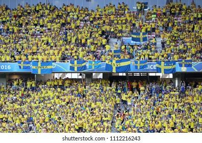 NICE, FRANCE - JUNE 22, 2016: Tribunes of Allianz Riviera Stade de Nice with Swedish fans during the UEFA EURO 2016 game Sweden v Belgium