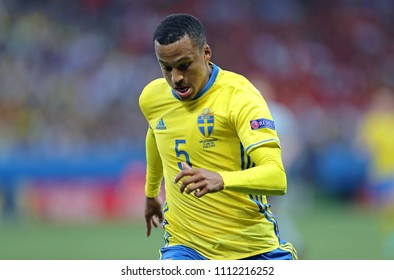 NICE, FRANCE - JUNE 22, 2016: Defender Martin Olsson of Sweden in action during the UEFA EURO 2016 game against Belgium at Allianz Riviera Stade de Nice, City of Nice, France. Belgium won 1-0