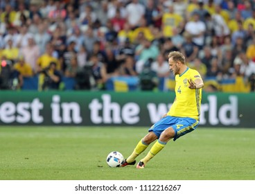 NICE, FRANCE - JUNE 22, 2016: Defender Andreas Granqvist of Sweden in action during the UEFA EURO 2016 game against Belgium at Allianz Riviera Stade de Nice, City of Nice, France. Belgium won 1-0