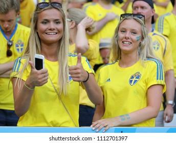 NICE, FRANCE - JUNE 22, 2016: Swedish fans have fan during the UEFA EURO 2016 game Sweden v Belgium at Allianz Riviera Stade de Nice in Nice, France