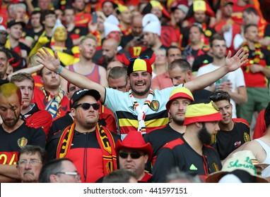 NICE, FRANCE - JUNE 22, 2016: Belgian fans show their support during the UEFA EURO 2016 game Sweden v Belgium at Allianz Riviera Stade de Nice, Nice, France. Belgium won 1-0