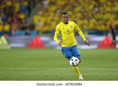NICE, FRANCE - JUNE 22, 2016: Martin Olsson of Sweden controls a ball during UEFA EURO 2016 game against Belgium at Allianz Riviera Stade de Nice, City of Nice, France