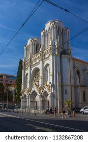 Nice, France - June 23, 2018: Basilique Notre Dame de Nice is a Roman Catholic Neo-Gothic basilica situated on the Avenue Jean-Medecin in the centre of Nice, France