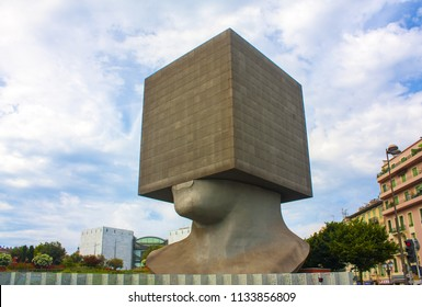 Nice, France - June 23, 2018: Public library building in Nice, France. The building is in the shape of a human head with the square on the head