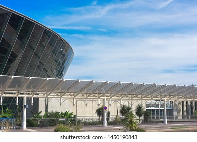 Nice - France - June 23, 2019: architectural details of the Terminal building at Nice Cote d'Azur Airport.