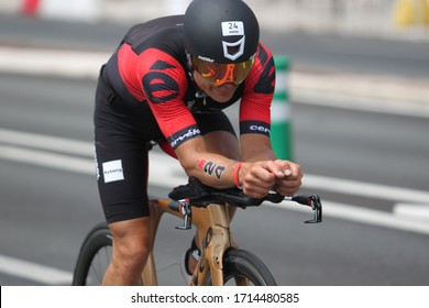 Nice, France - June 24, 2018: Bekim Christensen is a Danish retired professional road bicycle racer participating in Ironman Nice-France. He placed 14th among pro triathletes.