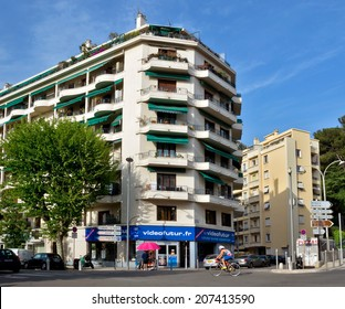 NICE, FRANCE - MAY 1: Architecture of buildings of new district on May 1, 2013 in Nice, France. City of Nice is a luxury resort on the Mediterranean coast.