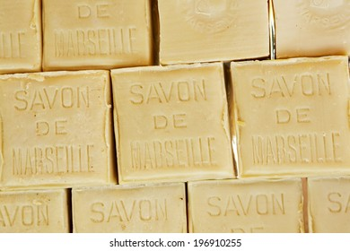 NICE, FRANCE - MAY 18, 2014: Marseille soap also called Savon de Marseille, put up for sale at the market, traditional soap made from vegetable oils, under the same name produces for about 600 years
