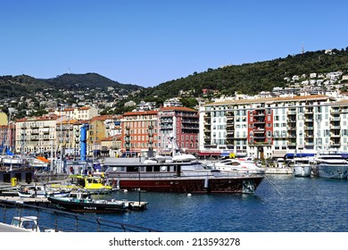 NICE, FRANCE - MAY 24, 2014: Port Lympia also called Old Harbor built on the outskirts of the city in 1750, with an area of 127,500 sqm at water level, acts as commercial port, marina and fishing port