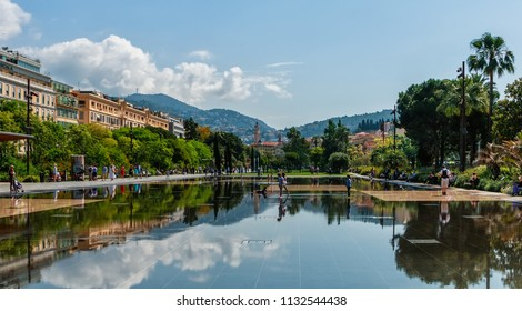 NICE, FRANCE- MAY 29, 2018: Kids are playing in promenade du paillon park  in Nice, France