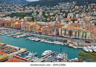 NICE, FRANCE - MAY 5: Aerial view of the Port de Nice on May 5, 2013 in Nice, France. Port de Nice was started in 1745 and now it is one of more popular ports in south France.