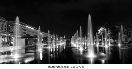 NICE, FRANCE - NOVEMBER 2, 2014: Fountain in the square Masena in Nice