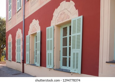 Nice, France - November 3, 2016: Windows of Matisse museum (Musee Matisse de Nice) devoted to work of French painter Henri Matisse, located in Villa des Arenes in Cimiez neighborhood.