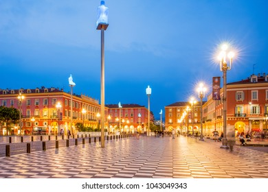 NICE, FRANCE – OCTOBER 1, 2017. Place Masséna.The seven characters on Place Masséna represent seven continents and the communication between the different communities of today's society