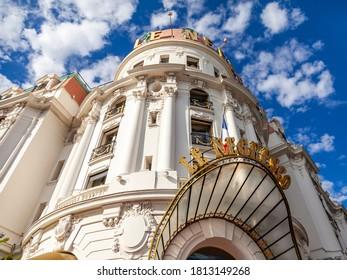 Nice, France, October 10, 2019. Urban view. Promenade des Anglais waterfront architectural ensemble. Historic Hotel Negresco, fragment of facade