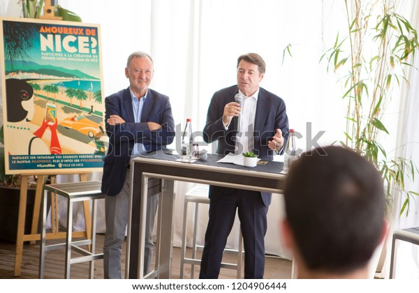 Nice France October 12 2018 Christian Estrosi and Rudy Salles present the new instagram guide from the city of Nice to The Beach Beau Rivage