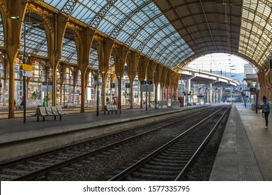 Nice, France, October 12, 2019. Gare de Nice Train Station Perrons