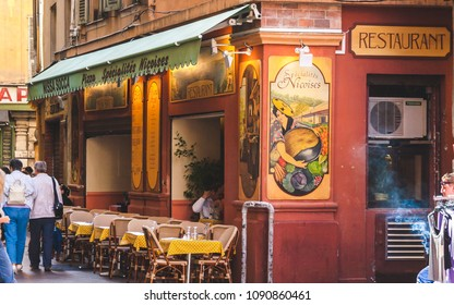 NICE, FRANCE - OCTOBER 13, 2009: Typical restaurant with nicoise specialties in old town of Nice