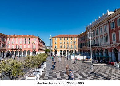 Nice, France - October 4, 2018: Street scene at Place Masséna in Nice, France.