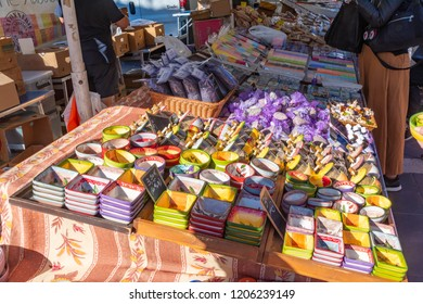 Nice, France - October 5, 2018: View of a market stall in Nice with different homeware.