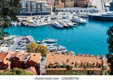 "Nice, France - October 5, 2018: View from the hill ""Mont Boron"" to a harbor in Nice on the French Riviera."