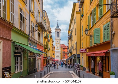Nice, France - October 6, 2016: View onto famous Place Rossetti and Sainte Reparate Cathedral Basilique in Nice, French Riviera