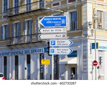 NICE, FRANCE, on JANUARY 12, 2017. Urban view. Elements of city navigation show the direction to sights