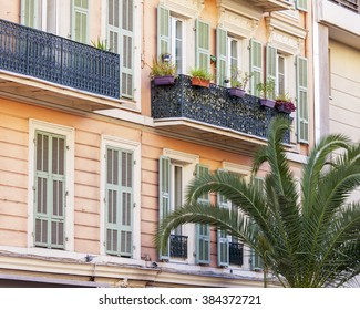 NICE, FRANCE, on JANUARY 13, 2016. Typical architectural details of city building
