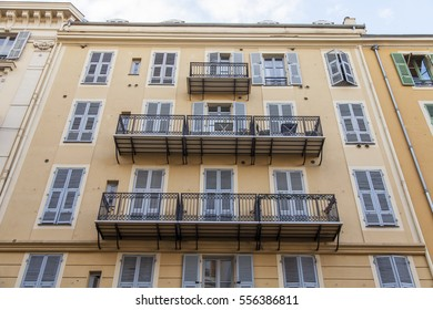 NICE, FRANCE, on January 5, 2017. Typical architectural details of the building in a historical part of the city
