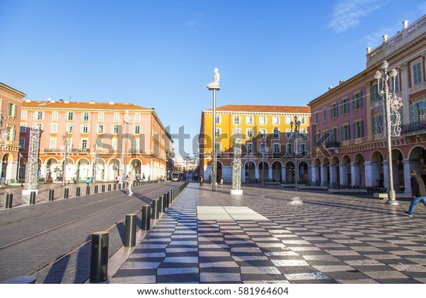 NICE, FRANCE, on JANUARY 6, 2017. The sun lights the main city square of Massena, one of symbols of Nice