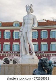 NICE, FRANCE - on JANUARY 8, 2016. A fragment of the sculpture decorating the fountain on Victor Massen Square