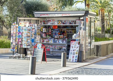 NICE, FRANCE - on JANUARY 8, 2016. A newsstand on the city street