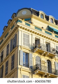 NICE, FRANCE, on JANUARY 9, 2017. Typical details of a facade of the building on the city street, characteristic of Provence.