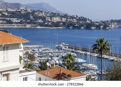 Nice, France, on March 10, 2015. The top view on a sea bay and yachts at the coast in the suburb of Nice Vilfransh Sur Mer