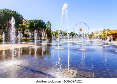 NICE, FRANCE, on March 6, 2018. The beautiful plane fountain in the La promenade du Paillon park